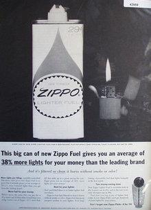 Zippo Lighter Fuel 1963 Ad