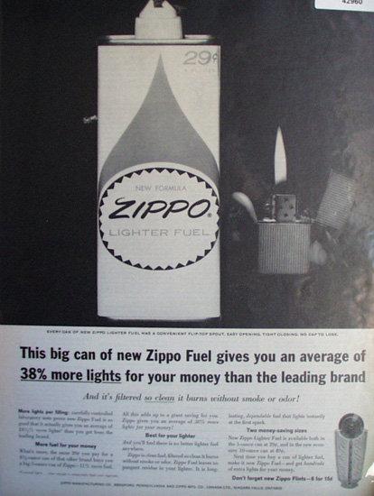 Zippo Lighter Fuel 1963 Ad.