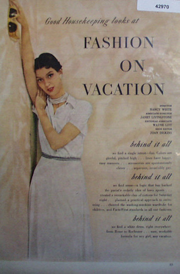 Fashion On Vacation 1950 Ad.