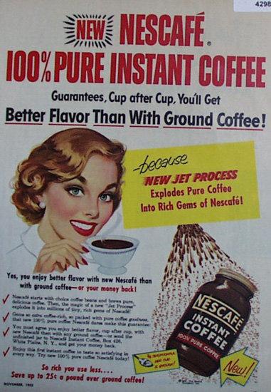 Nescafe Instant Coffee 1953 Ad.