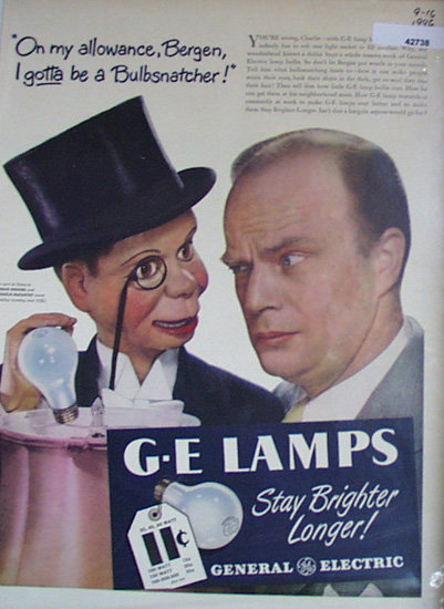 G.E. lamps Bergen And McCarthy 1946 Ad