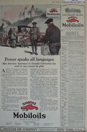 Vacuum Oil Co Mobiloils 1920 Ad