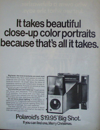 Polaroid Big Shot Camera 1971 Ad.
