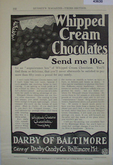 Darby of Baltimore Candy 1907 To 1912 Ad