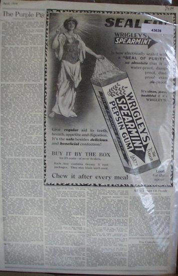 Wrigleys Spearmint Pepsin Gum 1914 Ad