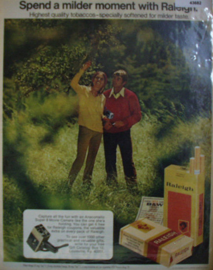 Raleigh Filter Tip Cigarettes 1972 Ad.