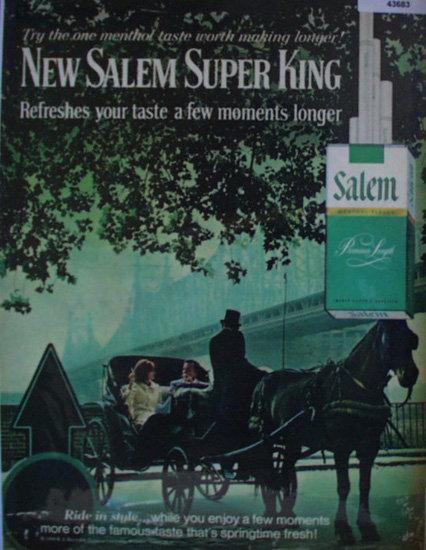 Salem Menthol Flavor Cigarettes 1968 Ad