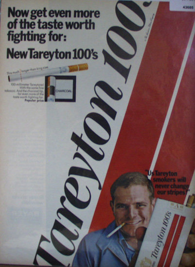 Tareyton 100's Cigarettes 1967 Ad