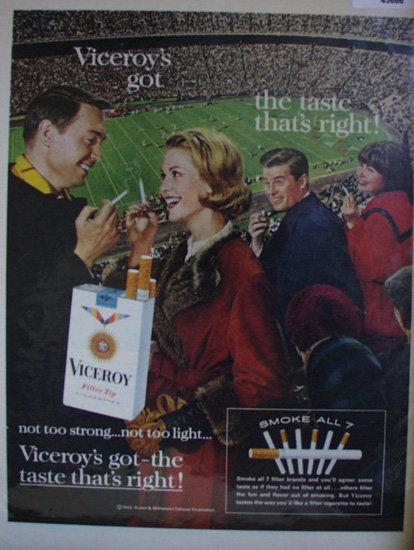 Viceroy Filter Tip Cigarettes 1963 Ad