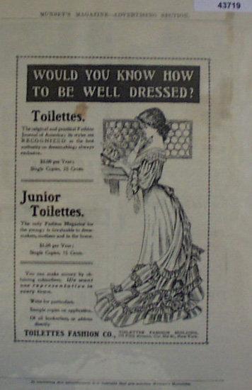Toilettes Fashion Co. 1907 To 1912 Ad