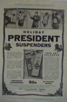 President Suspenders 1907 To 1912 Ad