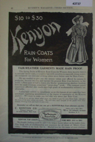 Kenyon Rain Coats For Women 1907 To 1912 Ad