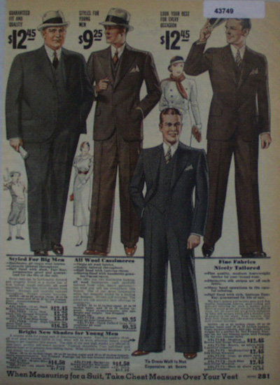 Sears Mens Suits 1933 Ad.