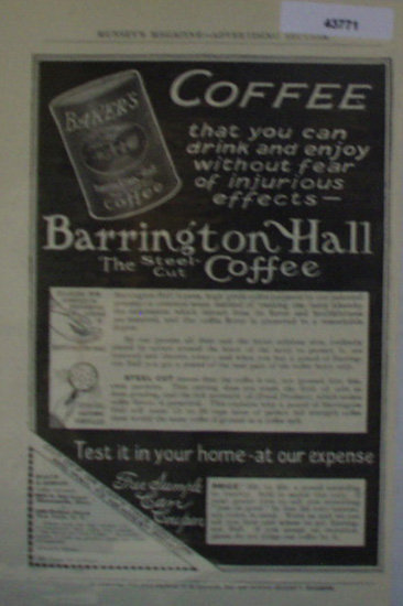 Bakers Coffee 1907 To 1912 Ad