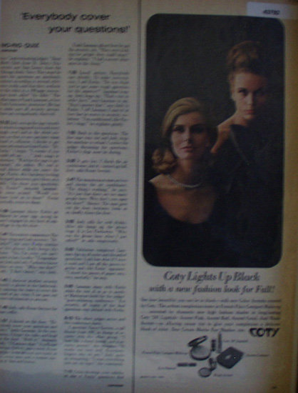 Coty Makeup Lipstick Eye Shadow 1963 Ad