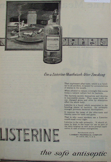 Listerine Mouthwash 1920 Ad