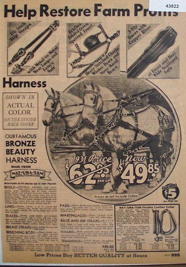 Sears Farm Horse Harness 1933 Ad