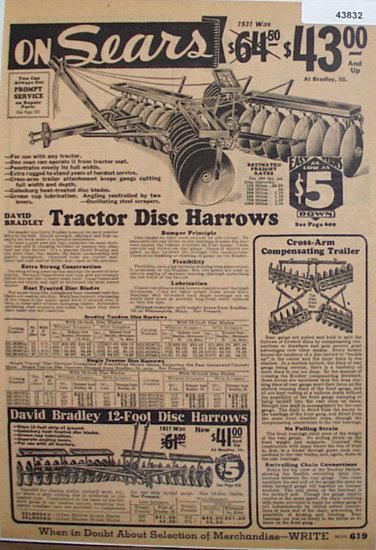 Sears David Bradley Disc Harrows 1933 Ad.