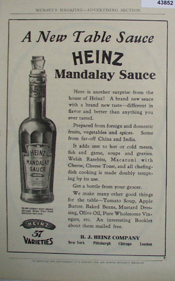 Heinz Mandalay Sauce 1907 To 1912 Ad