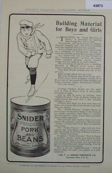 Snider Process Pork And Beans 1907 To 1912 Ad