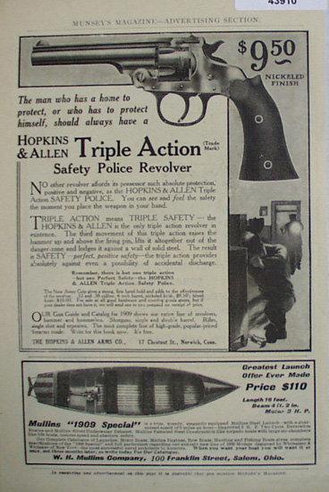 Hopkins And Allen Revolver 1907 To 1912 Ad