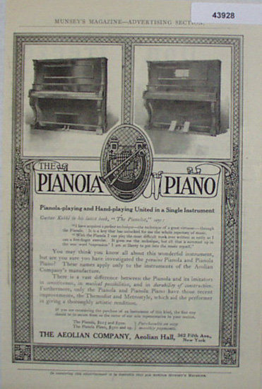 The Pianola Piano 1907 To 1912 Ad