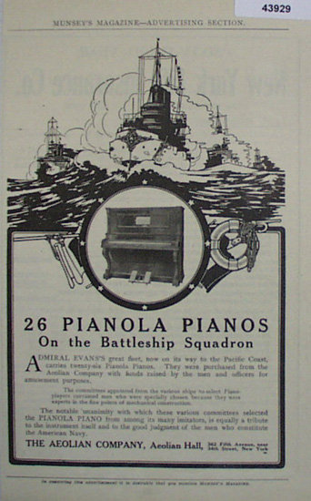 Pianola Pianos 1907 To 1912 Ad