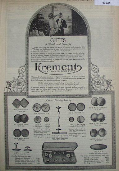 Krementz Jewelry 1920 Ad