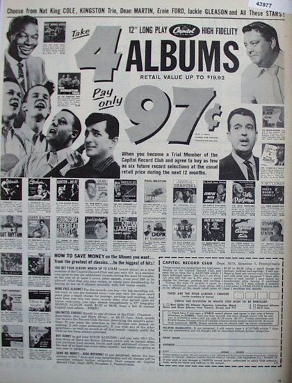 Capitol Record Club 1960 Ad