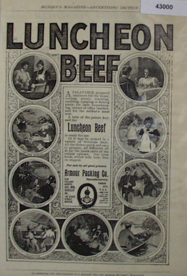 Armour Packing Co. Luncheon Beef 1907 to 1912 Ad