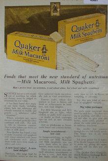 Quaker Milk Macaroni 1920 Ad