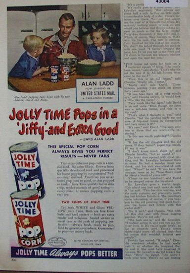 Jolly Time Pop Corn 1950 Ad