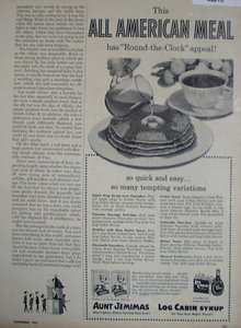 Aunt Jemimas Pancakes And  Log Cabin Syrup 1953 Ad