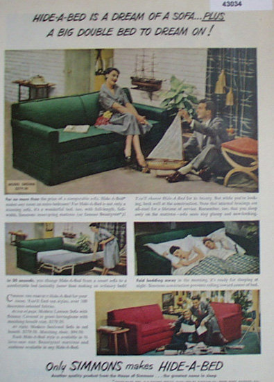 Simmons Hide A Bed 1950 Ad