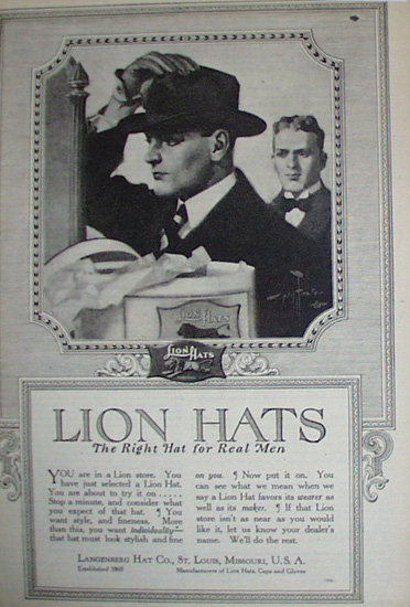 Lion Hats 1920 Ad