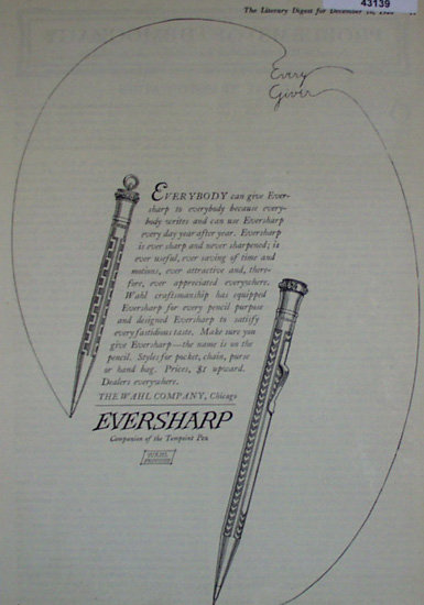 Eversharp Pencils 1920 Ad