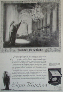 Elgin Watch Galileos Pendulum 1920 Article.