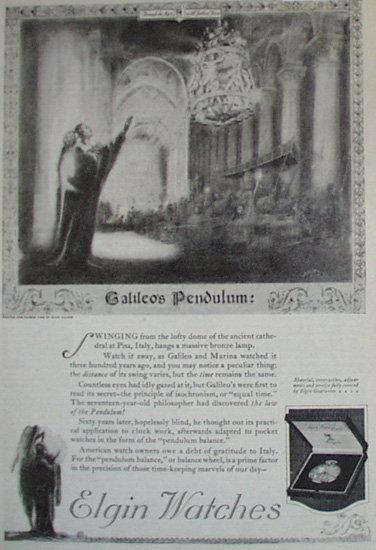 Elgin Watch Galileos Pendulum 1920 Article.