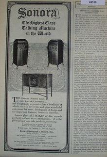 Sonora Talking Machines 1920 Ad