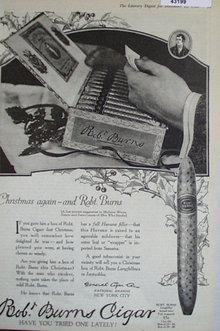 Robt. Burns Cigars 1920 Ad