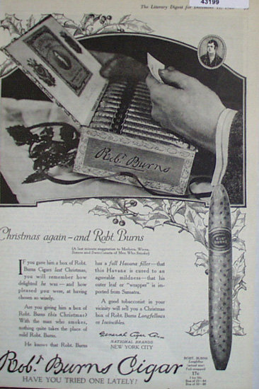 Robt. Burns Cigars 1920 Ad