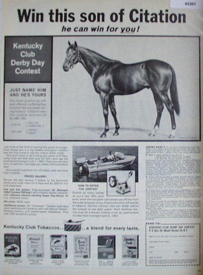 Kentucky Club derby Day Contest 1963 Ad