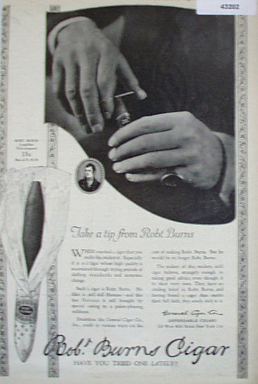 Robt. Burns Cigar 1920 Ad