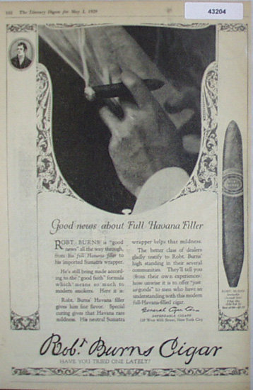 Robt. Burns Cigar 1920 Ad
