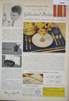 Dirilyte Golden Hued Tableware 1950 Ad
