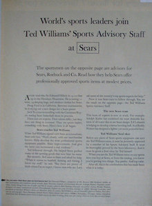 Sears Ted Williams Sports Advisory Staff 1963 Article
