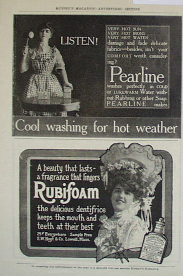 Pearline Soap And Rubinfoam Dentifrice 1907 To 1912 Ad
