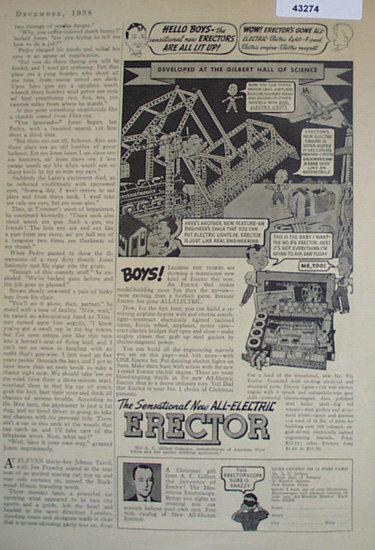 A.C. Gilbert Erector. 1938 Ad