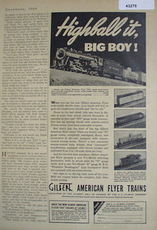 Gilbert American Flyer Trains 1938 Ad
