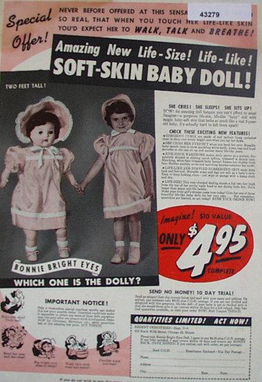 Soft skin Baby Doll 1950 Ad